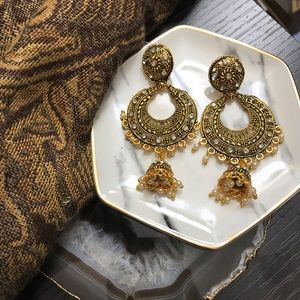 NEW Golden Boho Half Moon Bell Drop Earrings